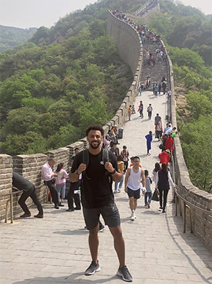 Communication student Kaiden Smith in China