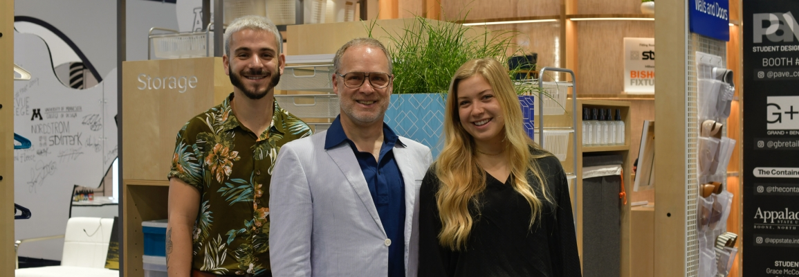 Students Jake Still (left) and Grace McCormick (right) are pictured with Applied Design Chair Brian Davies at 2019 PAVE in Chicago.