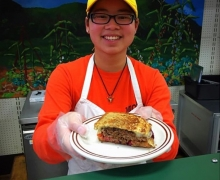 Photo of Rebecca Brown volunteering at F.A.R.M. Cafe' in Boone