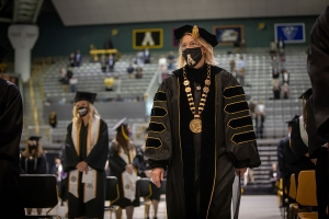 Dr. Sherry Everts at spring 2021 commencement