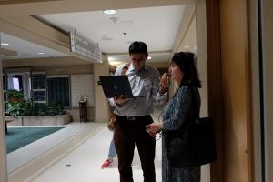 Dr. Ghamari and a study participant