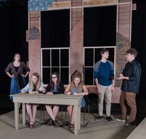 "Students rehearse a scene from ""Radium Girls"""