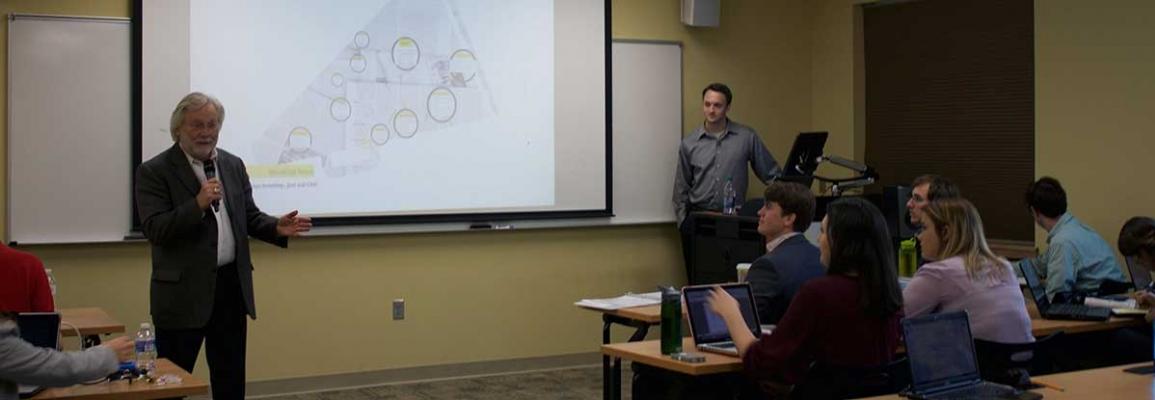 Dan Hill speaks to students during the Kellar Radio Talent Institute