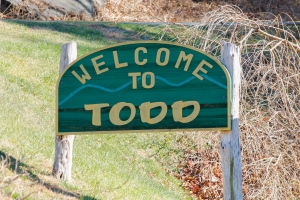 """Welcome to Todd"" sign"