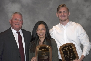 Award recipients Dr. Mandy Wu and Luke Crouch