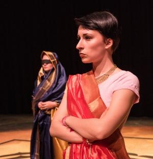 """Students rehearse """"Flight from the Mahabharath"""""""