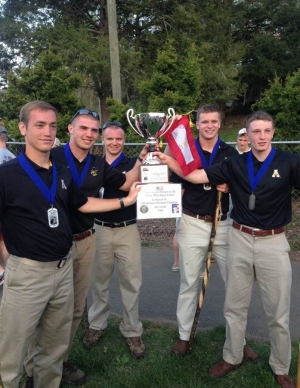 A five-member team from Appalachian State University's ROTC program won the 1st Lt. Frank B. Walkup IV Cup at the annual Mountain Man Memorial March held in Gatlinburg, Tennessee. Team members are Jacob Lay, left, McCarthy Shelton, Dylan Coveney, William Hintz and John Simpson. (Photo submitted)