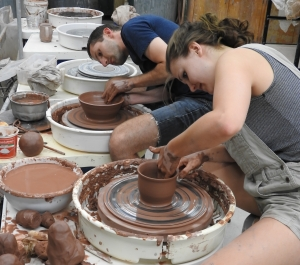 Pottery students