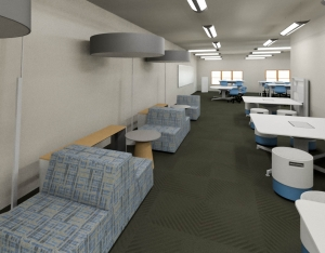 A rendering of the AppLab space with the new Steelcase products
