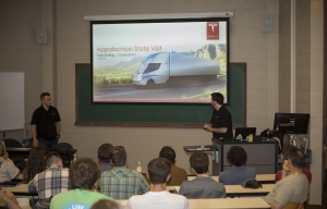 Students at the Tesla presentation