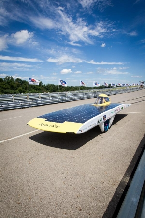 Solar car on the track